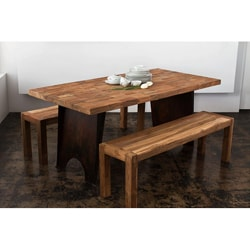 Reclaimed Teak and Metal 3-piece Dining Set (India)