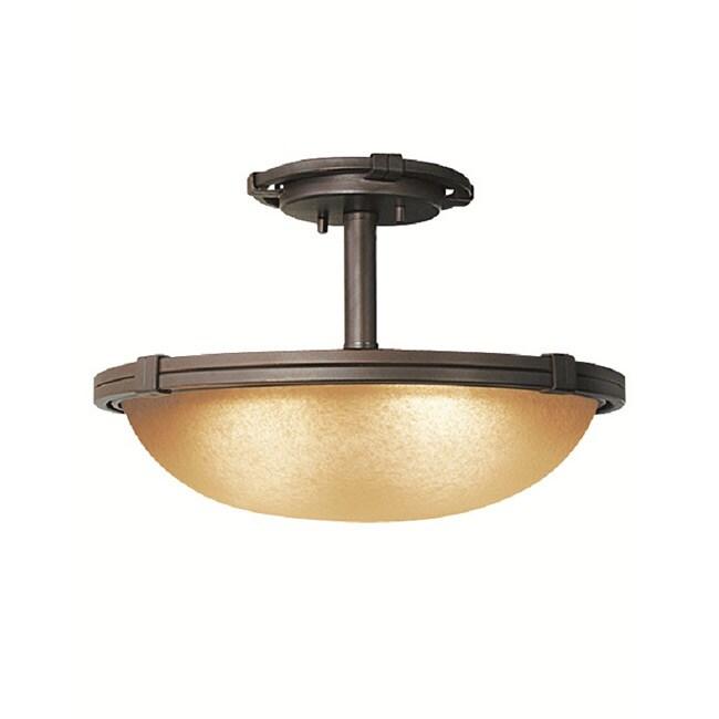 Woodbridge Lighting Wayman 2-light Bronze Semi-flush Mount