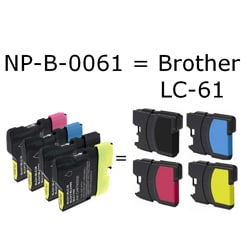INSTEN Brother LC-61 Compatible Black Ink Cartridges (Pack of 6)