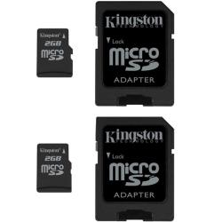 Kingston 2GB microSD Flash Memory Card with SD Adapter (Pack of 2)