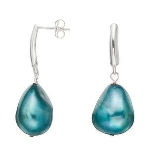 Pearlyta Sterling Silver Blue Baroque Pearl Earrings (13-14 mm)