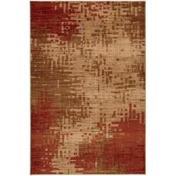 Inferno Red and Beige Rug (8' x 11')