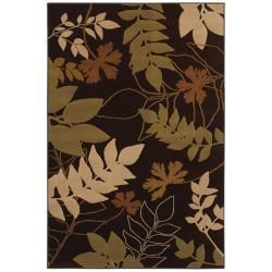 "Transitional Brown Floral-Print Rug (5'3"" x 7'10"")"