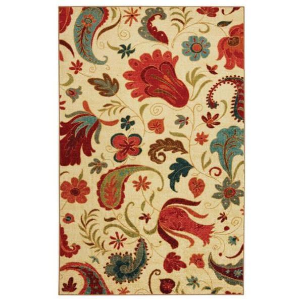 Vibrant Beige Multi Floral Rug (8' x 10')