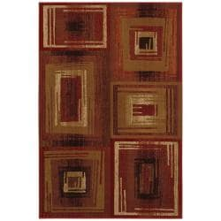 Red Abstract Area Rug (8' x 11')