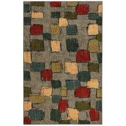 Night Vision Green/ Grey Abstract Rug (5' x 8')