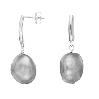 Pearlyta Sterling Silver Grey Pearl Earrings (13-14 mm)