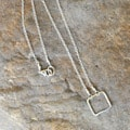 AEB Design Sterling Silver Small Square Ring Necklace