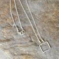 AEB Design Sterling Silver Small Square Ring Necklace