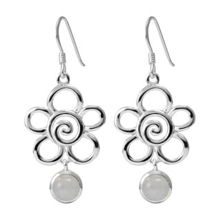 Sterling Silver Moonstone Flower Earrings (Thailand)