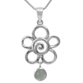 Sterling Silver Moonstone Hanging Flower Necklace (Thailand)
