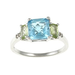 14k White Gold Blue Topaz, Peridot and Diamond Accent Ring (K-L, I1-I2)
