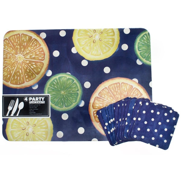 Thirstystone Citrus Dots Placemat and Pub Coaster Set