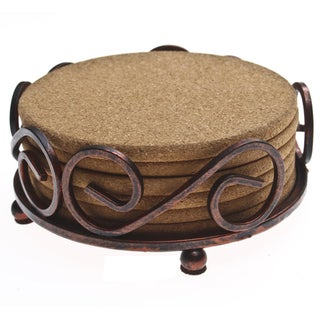 Thirstystone Natural Cork Drink Coasters in a Bronze Scroll Holder