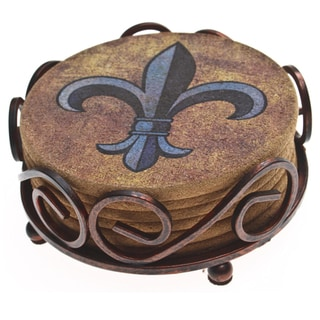 Thirstystone Cork Fleur de Lis Coasters in a Bronze Scroll Holder