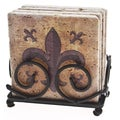 Thirstystone Fleur de Lis Travertine Drink Coaster Set