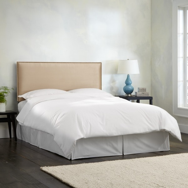 Skyline Furniture Burling Nail Button Queen Headboard in Micro-Suede Oatmeal