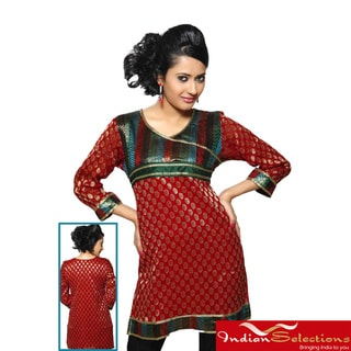 Women's Red Brocade Neckline and Lace Work Kurti/ Tunic (India)