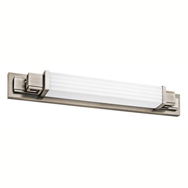 Greek Key One-Light 39-Watt Pewter Linear Bath Bar