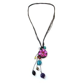 Cotton Rope Pretty Drop Multi-gemstone Cluster Necklace (Thailand)