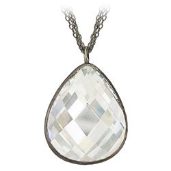 Icz Stonez Black Rhodium over Silver Cubic Zirconia Teardrop Necklace