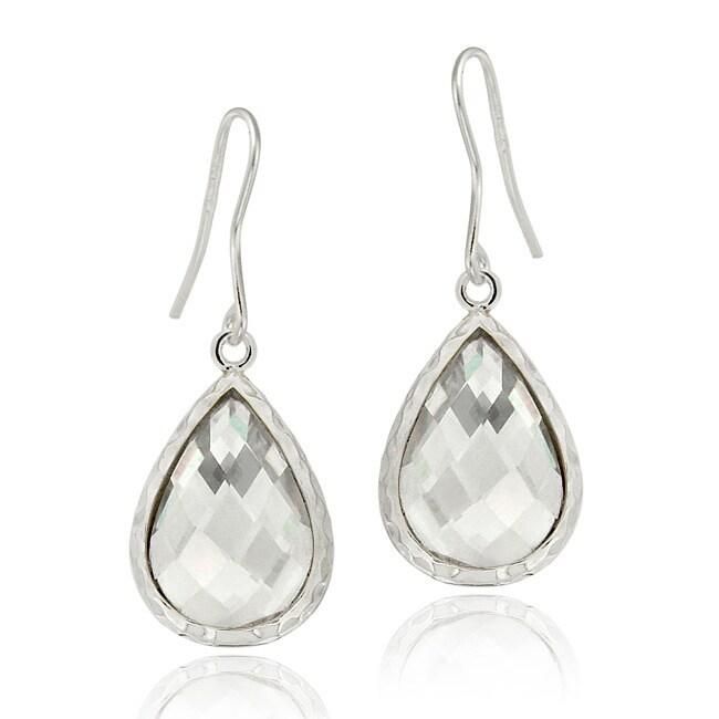 Icz Stonez Sterling Silver Cubic Zirconia Teardrop Dangle Earrings