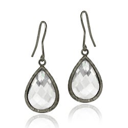 Icz Stonez Black Rhodium over Silver Cubic Zirconia Dangle Earrings