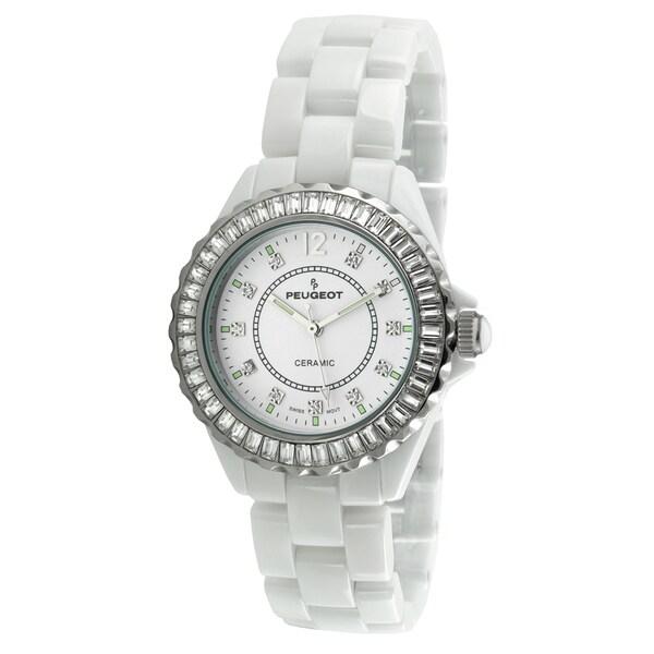 Peugeot Women's Swiss White Genuine Ceramic Crystal Bezel Watch