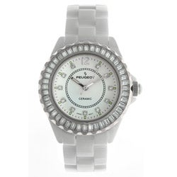 Peugeot Women's Swiss White Genuine Ceramic Crystal Bezel Watch