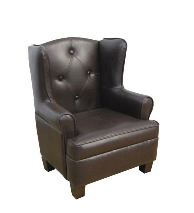 Luxury Toddler Kid's Brown Faux Leather Wingback Chair