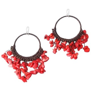 Cotton Chandelier Red Coral Hoop Dangle Earrings (Thailand)