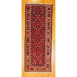 Persian Hand-knotted Navy/ Beige Tribal Hamadan Wool Rug (3'10 x 9'9)
