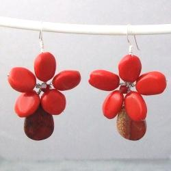 Sterling Silver Red Coral and Jasper Flower Dangle Earrings (Thailand)