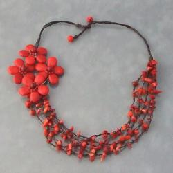 Cotton Rope Red Coral Side Floral Bouquet Necklace (Thailand)