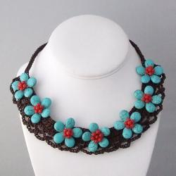 Cotton Reconstructed Turquoise/ Red Coral 7-flower Necklace (Thailand)