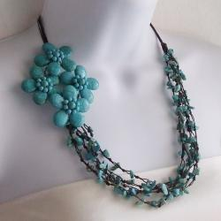 Cotton Reconstructed Turquoise Side Floral Bouquet Necklace (Thailand)