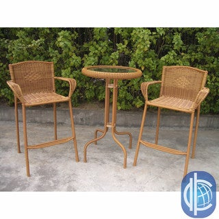 International Caravan Resin Wicker Outdoor 3-piece Bar-height Bistro Set