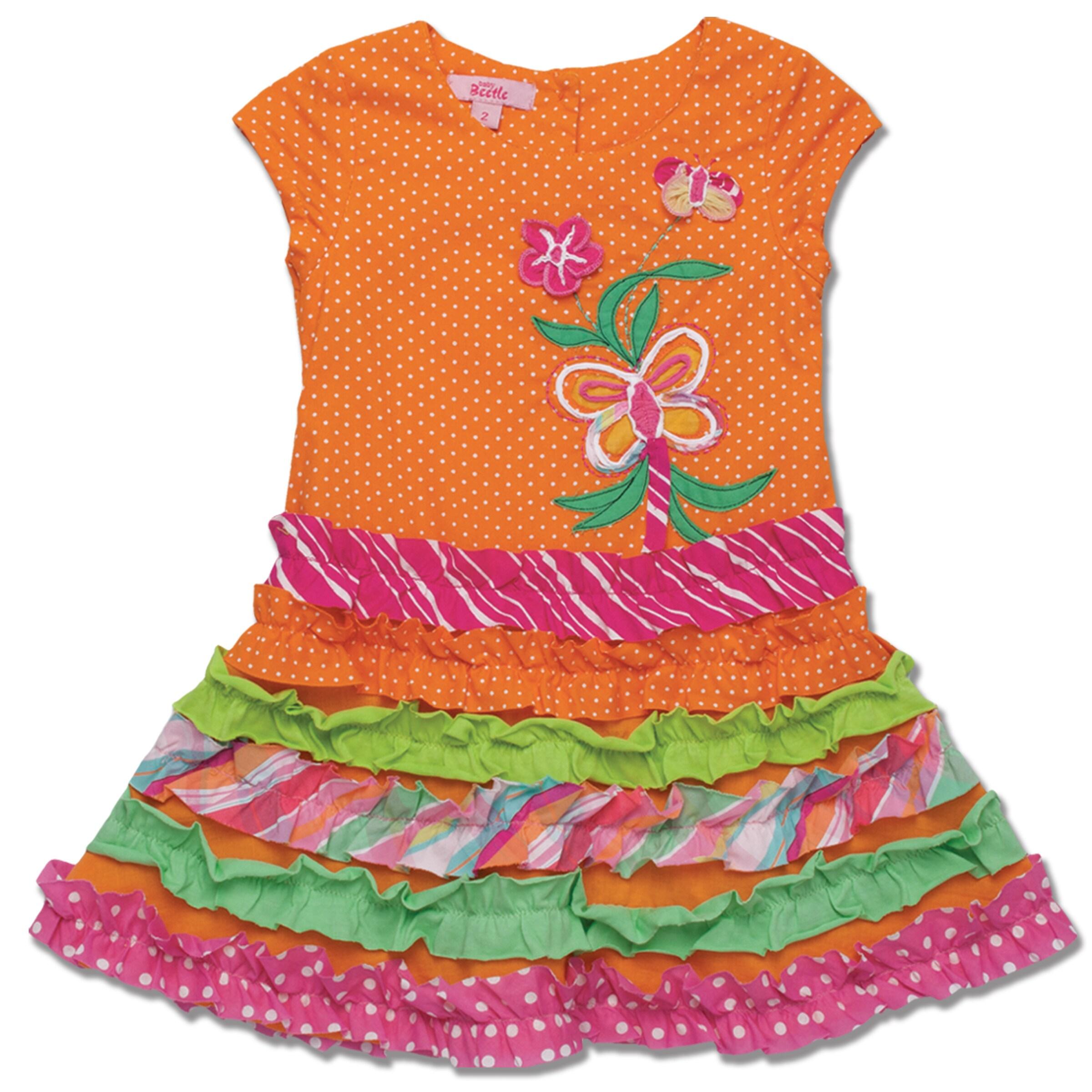 Beetlejuice London Girl's Orange Polka Dot Dress