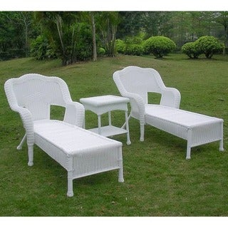 International Caravan Resin Wicker Outdoor 3-piece Chaise Lounge Set