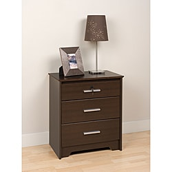 Yaletown Espresso Wide Locking 3-drawer Night Stand