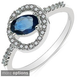 Malaika 10k White Gold Gemstone and 1/5ct TDW Diamond Ring