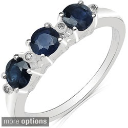 Malaika 10k White Gold Round-cut Gemstone and Diamond Accent Ring