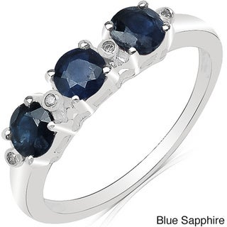 Malaika 10k White Gold Round-cut Gemstone and Diamond Accent Ring