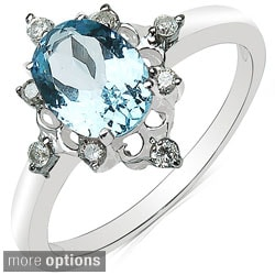 Malaika 10k White Gold Oval-cut Gemstone and 1/8ct TDW Diamond Ring (J-K, I2-I3)