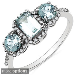 Malaika 10k White Gold Gemstone and 1/5ct TDW Diamond Ring (H-I, I2-I3)