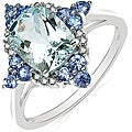 Malaika 10k White Gold Aquamarine, Tanzanite and Diamond Accent Ring