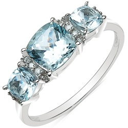 Malaika 10k White Gold Aquamarine and Diamond Accent Ring