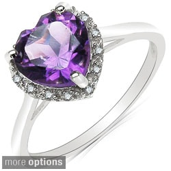 Malaika 10k White Gold Gemstone and 1/6ct TDW Diamond Ring (J-K, I2-I3)