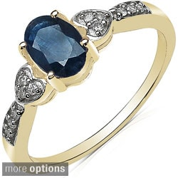 Malaika Highly Polished 10k Yellow Gold Gemstone and Diamond Accent Ring