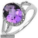 Malaika 10k White Gold Amethyst or Blue Topaz and Diamond Accent Ring